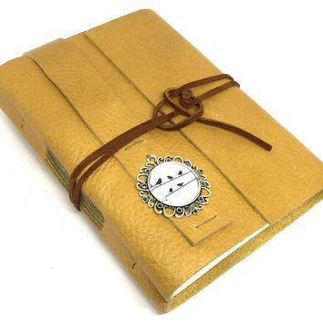 Golden Yellow Leather Journal with Blank Paper -  Cameo - Handmade Journal - Bound - Diary - Travel Journal - Ready to Ship - Prayer Journal