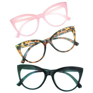 a367d3b6800 Betsey Johnson 3 Pairs Reading Glasses Black Pink Leopard Reader