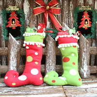 New Year Merry Christmas gifts Long boots decorations Christmas stockings Children Gift Candy Bag Christmas Tree Ornament