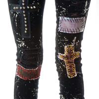Tripp NYC Patches n' Paint Splattered Jeans Black