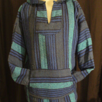 Vintage 80's Color Block Hoodie Blanket Poncho Hippie Surfer XL Unisex Blue Teal Black Stripe
