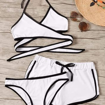 Contrast Piping Wrap Halter Bikini Set With Shorts 3pack