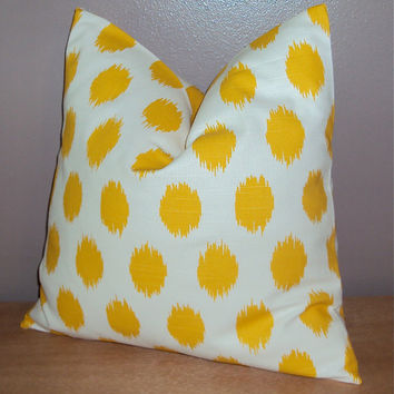 16x16 Bright Yellow Cotton Ikat Dot Decorative Pillow Cover - Ships Within 3 Days