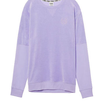 Velour Pieced Campus Crew - PINK - Victoria's Secret