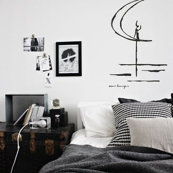 Art inspired by Work on paper of Brasilia by Oscar Niemeyer -  vinyl wall decal for your nursery, bed room or living room minimalistic decor