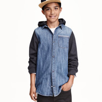 Hooded denim shirt - from H&M