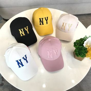 """""""New York x Gucci"""" Unisex Fashion Fawn Letter Embroidery Baseball Cap Couple Peaked Cap Sun Hat"""
