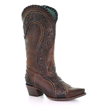 Corral Brown Overlay Woven Crystals & Studded Boots