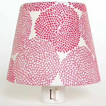 Red and White Night Light and Shade - Handmade Decorative Night Lights -  Floral Master Bedroom Decor - Accent Lighting