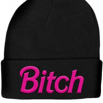 """Barbie Bitch"" Beanie by Touche Kvlt (Black/Pink)"
