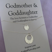 GODMOTHER Necklace . GODMOTHER Goddaughter. Goddaughter Godmother Gift. Godmother Necklace Sterling. Gift for Godmother