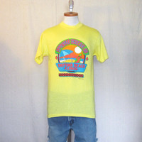 Vintage Deadstock 1990 SURF BEACH GRAPHIC Daytona Florida Soft Thin Neon Fluorescent Small 50/50 T-Shirt