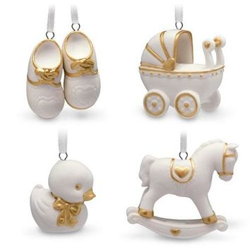 Mini Welcome Baby Porcelain Ornaments, Set of 4
