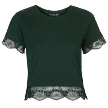 PETITE Exclusive Lace Trim Tee - Forest