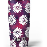 White Floral Pattern Over Red and Purple Grunge Yeti Rambler Skin Kit