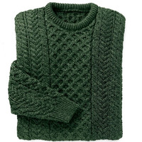 Merino Wool Aran Sweater - Dark Green - Shop Irish