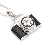 Spinningdaisy Silver Plated Black Color Classic Film Camera Necklace
