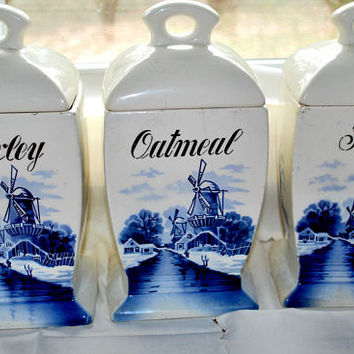 Food Canister , Brühl Germany , Blue Delft , Vintage Pottery , Food Containers