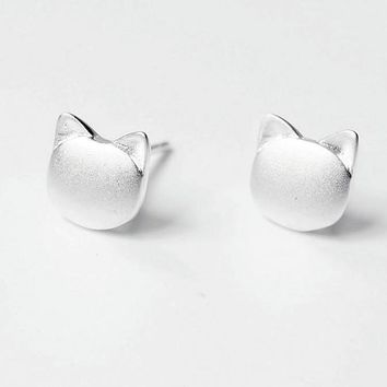 Cute Cat Stud Earrings 925 Sterling Silver Hypoallergenic