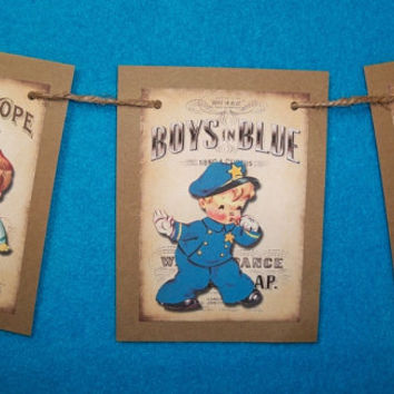 mini Little Boys Banner, Rustic Look, Child's Birthday Garland, Child's Play Time,  Nursery Decor, Baby Shower Bunting