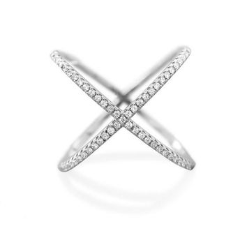 Sterling Silver Criss Cross 'X' Ring with Signity CZs