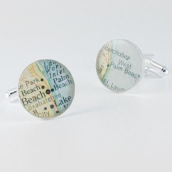 Personalized Map Cufflinks Palm Beach / WPB