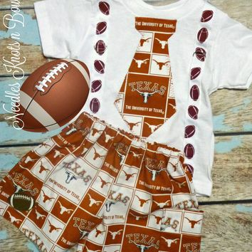 Boys Texas Longhorns Football Shorts Outfit, Baby Boys Coming Home Outfit, Game Day, Tailgating