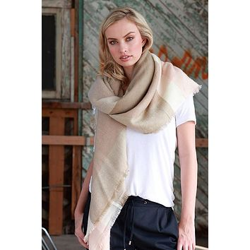 Blanket Scarf (Blush & Taupe Color Block)