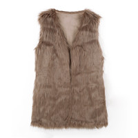 Faux Fur Open Front Sleeveless Vest Coat