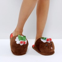 ASOS NUTTY PUDS Christmas Pudding Slippers at asos.com