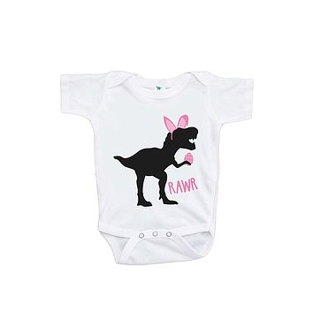 Custom Party Shop Baby Girls Dinosaur Happy Easter Onepiece