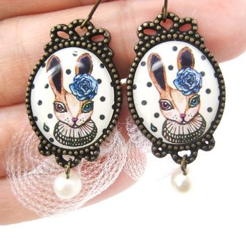 Bunny Rabbit Illustrated Dangle Earrings with Polka Dot Lace and Pearl Details | Animal Jewelry