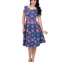 1950s Style Blue & Pink Posies Dotted Belina Swing Dress
