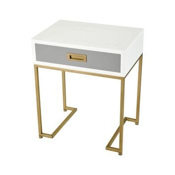 Gold, White, and Grey End Table