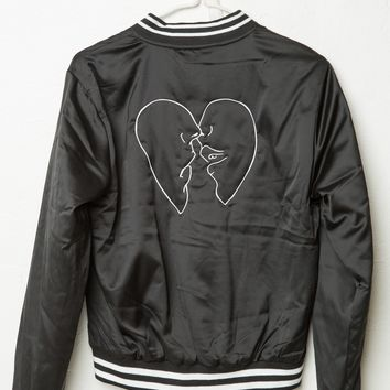 LIZ KISSING HEARTS EMBROIDERY BOMBER JACKET