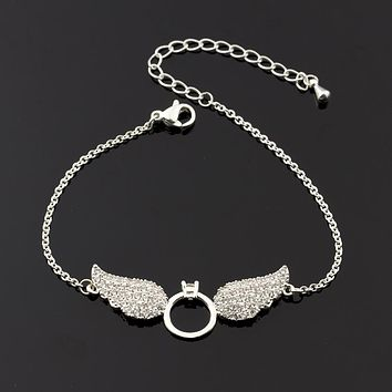 10pcs Delicate Angel Wings Bracelet Pary Gift Women Jewelry Fashion Accessories Link Chain Copper Charm Bracelet