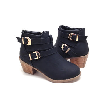 Girls Black Boot with Heel and Buckle Detail