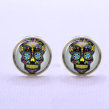 Day of the Dead Black Skull Cufflinks -Mens Silver Plated Cufflinks,Accessoires for Man-Mens Gift ,Gift for Daddy ,Best Man