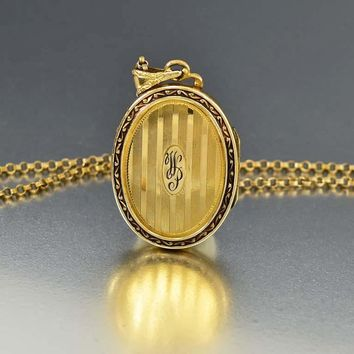 Vintage 12K Gold Filled Art Deco Locket Necklace