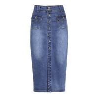 Women Pencil Skirt 2017 Korean Casual Pocket Slim High Waist Denim Skirt Blue Jeans Skirt Vintage Long Skirt Saia Midi M-4XL