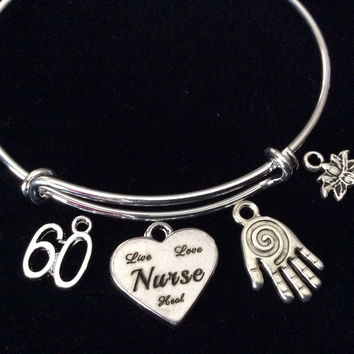 Custom Nurse Live Love Heal Reiki Hand Expandable Silver Charm Bracelet Bangle Gift