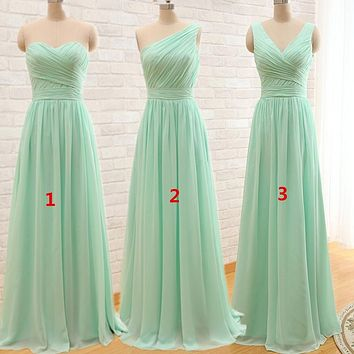 New Arrival Mint Green Long Chiffon A Line Pleated Bridesmaid Dress Under 50 Wedding Party Dress 2016 Robe Demoiselle D'honneur