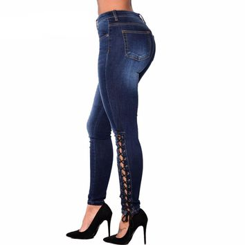 Women Skinny Jeans Female Vintage Curvy Slim Fit Stretch Strap Cross Lace Up Dark Blue Denim Pant Jean Plus Size