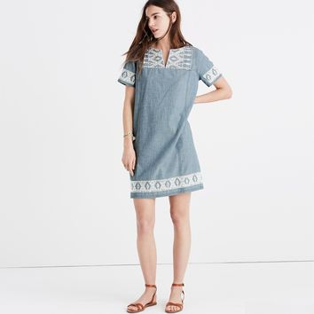 Embroidered Chambray Tunic Dress : | Madewell