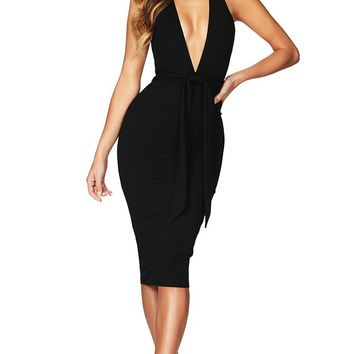 You're My Person Black Sleeveless Backless Plunge V Neck Halter Tie Waist Bodycon Bandage Midi Dress