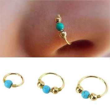 PEAP78W 1xStainless Steel Hand knitted Nose Ring Nostril Hoop Nose Earring Piercing Jewelry #30