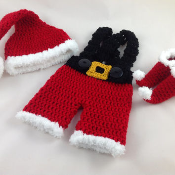 Newborn Elf Outfit - Baby Elf Hat - Crochet Baby Elf Set - Pixie Booties - Baby First Christmas - Photography Prop - Newborn -Baby Santa Hat