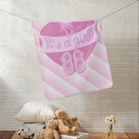 Cute Pink Heart with Bow Baby Girl Shower Stroller Blankets