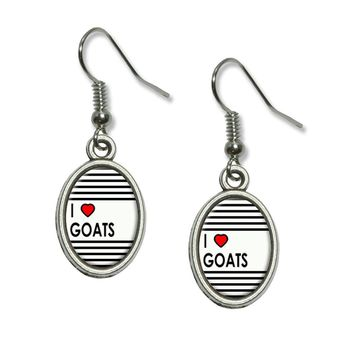 I Love Heart Goats  Dangling Drop Earrings