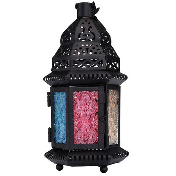 Wedding Party Home Decoration Retro Moroccan Style Matte Cast Handmade Magic Rainbow Candle Holder Lantern Gifts & Decor